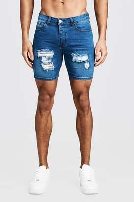 boohoo Skinny Fit Denim Shorts With Distressing