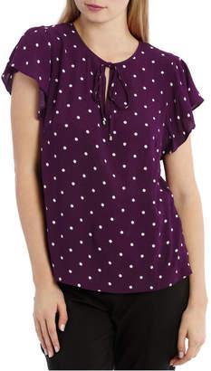 Miss Shop Flutter Sleeve Tie Neck Top - Spot