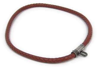 Hermes Gunmetal Brown Leather Woven Casual Choker Necklace