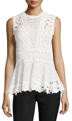 Rebecca Taylor Mixed-Lace Peplum Top, Chalk $375 thestylecure.com