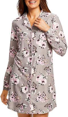 Gloria Vanderbilt Knit Long Sleeve Notch Collar Nightshirt
