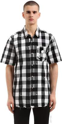 Skull Checked Flannel Short Sleeve Shirt