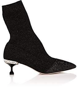 Miu Miu Women's Embellished-Heel Rib-Knit Ankle Boots - Nero