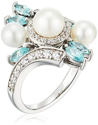 Swarovski Platinum Plated Sterling Silver Freshwater Pearl Bypass with Zirconia Accents Ring