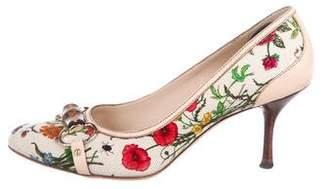 Gucci Round-Toe Floral Print Pumps
