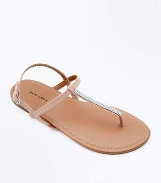 New Look Pink Diamanté Strap Flat Sandals