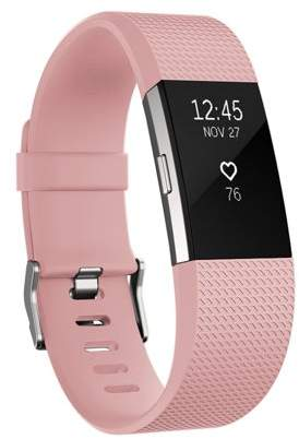 Fitbit Fitness Watch Gear Pure Silicone Wristband | Replacement Band for Charge 2 | Water and Sweat Resistant Wristband By Element Works ( Large ) - Pink