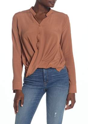 Fanco Long Sleeve Twisted Hem Blouse