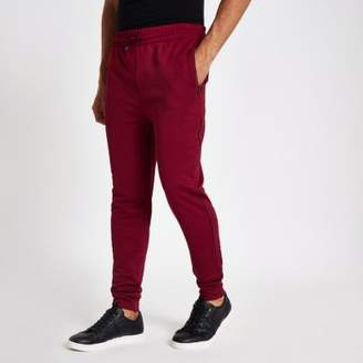 River Island Dark red piped slim fit joggers