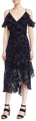 Peter Pilotto Sleeveless Flutter-Sleeve Velvet Devore Cocktail Dress