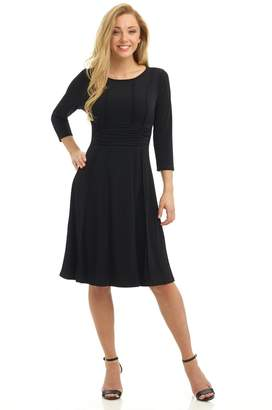 Rekucci Women's Slimming Exposed Seam Dress with 3/4 Sleeves