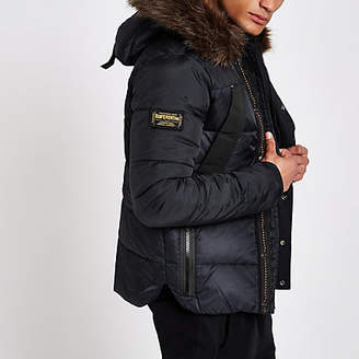 River Island Superdry navy faux fur hood puffer coat