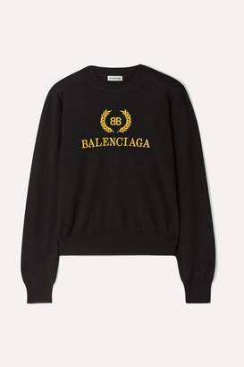 Balenciaga Embroidered Wool Sweater - Black