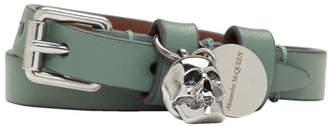 Alexander McQueen SSENSE Exclusive Green Double Wrap Skull Bracelet