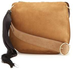 HILLIER BARTLEY Suede silk-tassel scarf hobo bag