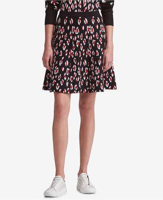 DKNY Leopard-Print A-Line Skirt
