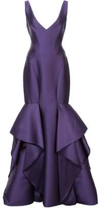 Monique Lhuillier V-neck trumpet gown