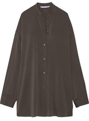 Helmut Lang Split-Back Stretch-Silk Crepe De Chine Shirt