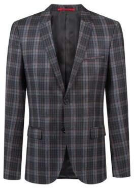 HUGO Boss Extra-slim-fit virgin-wool jacket Glen check pattern 38R Charcoal
