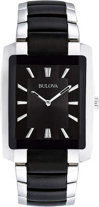 Bulova Mens Rectangular Black and Silver-Tone Stainless Steel Watch 98A117
