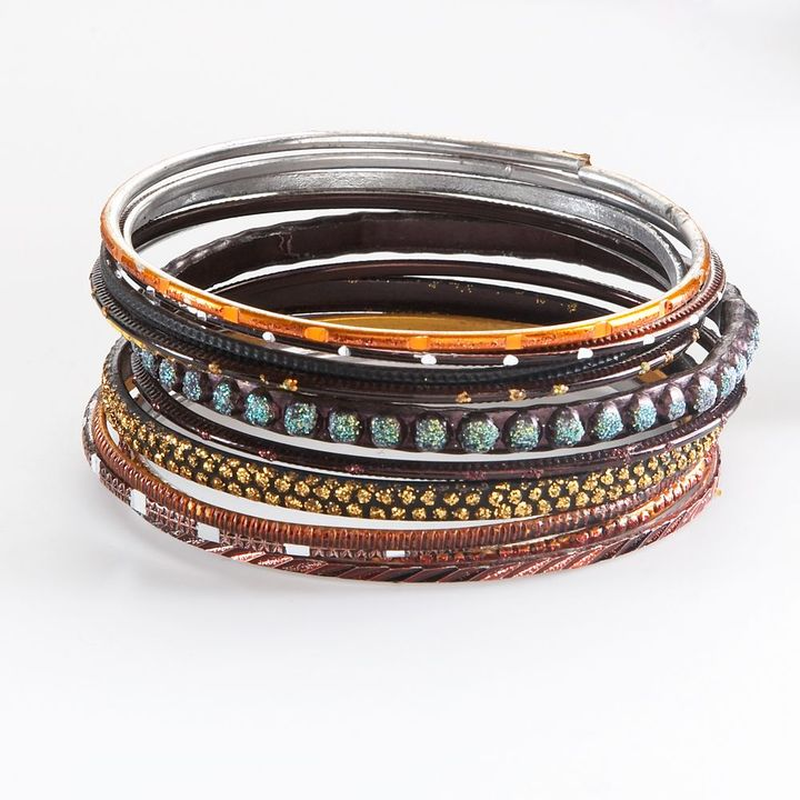 Mudd ® two tone beaded bangle bracelet set