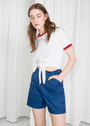 And other stories High Waisted Button Shorts