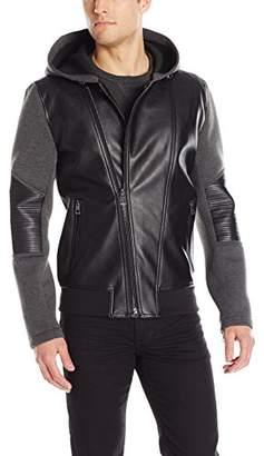 GUESS Men's Mix Media Hooded Jacket