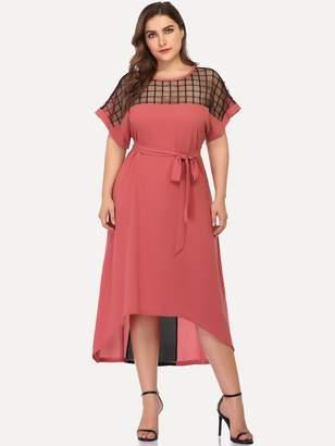 Shein Plus Cut And Sew Mesh Panel Dip Hem Belted Dress