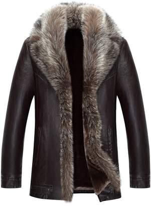 43c7df9ff88 Jinmen Mens Sheepskin Leather Jacket Winter Fur Coat Warm Raccoon Parka  Outwear