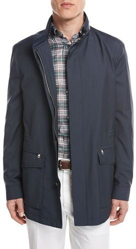BrioniBrioni Micro-Check Wool Field Jacket, Blue