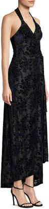 Dress the Population Erica Halter Velvet Wrap Gown