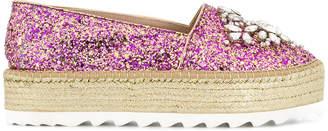 Sebastian embellished glitter platform espadrilles