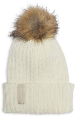 Calvin Klein Ribbed Faux Fur Pom-Pom Beanie