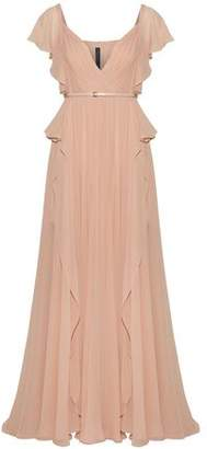 Elie Saab Belted Pleated Silk-Georgette Gown