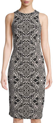 London Times Lisette Cutaway Shoulder Sheath Dress