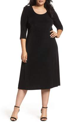 Vikki Vi Three-Quarter Sleeve Stretch Knit A-Line Dress