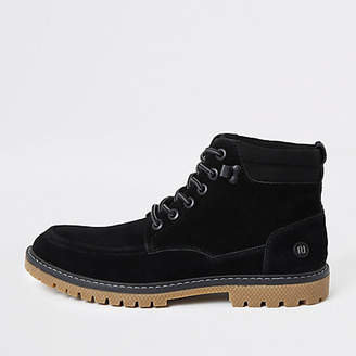 River Island Black faux suede lace up boots