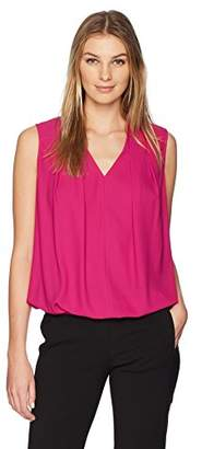 Lark & Ro Women's Sleeveless Pleated V-Neck Blouse with Tucked Hem