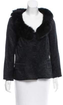 Magaschoni Fur-Trimmed Long Sleeve Jacket
