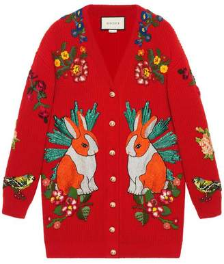 Gucci Oversize embroidered wool cardigan