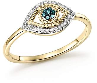 Adina 14K Yellow Gold Tiny Pavé White & Blue Diamond Evil Eye Ring