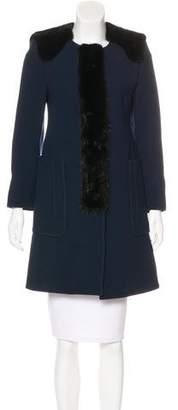 Andrew Gn Mink-Trimmed Virgin Wool Coat
