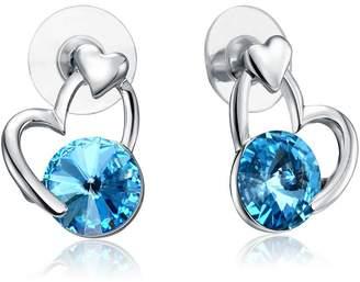 Oanthan Heart Crystal Aqua Bridal Bridesmaid Earrings