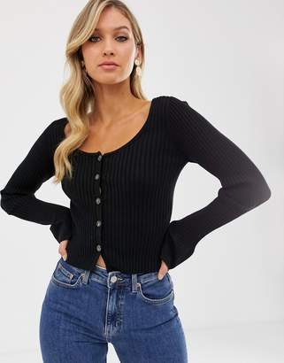 Asos Design DESIGN scoop neck cardigan in skinny rib with buttons