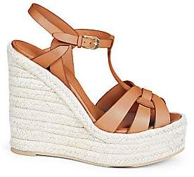 Saint Laurent Women's Tribute Leather Espadrille Wedge Sandals