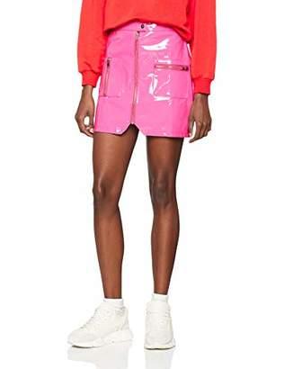 NEON COCO Women's Zip Front Vinyl Skirt,Large