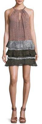 Ramy Brook Leomi Printed Sleeveless Tiered Dress,Terracotta Rose/Black/White $395 thestylecure.com