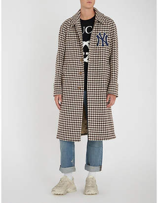 Gucci NY houndstooth wool-blend coat