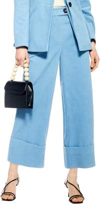 Topshop Crop Wide Leg Corduroy Trousers