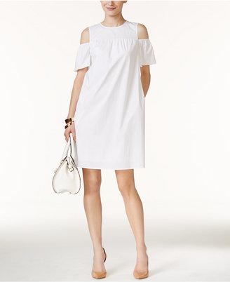 Alfani Cold-Shoulder Shift Dress, Only at Macy's $99.50 thestylecure.com